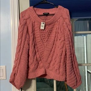 Pink express sweater, small